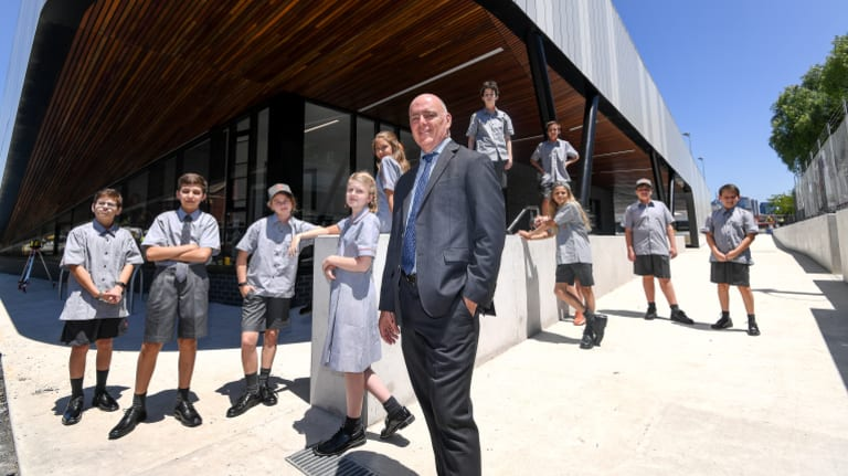 Principal Colin Simpson and students in the inaugural Year 7 class at the new Richmond High School.