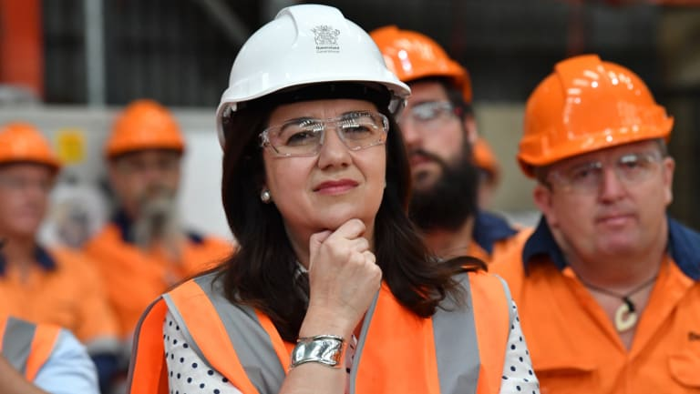 Queensland Premier Annastacia Palaszczuk on the campaign trail in Maryborough on Thursday.