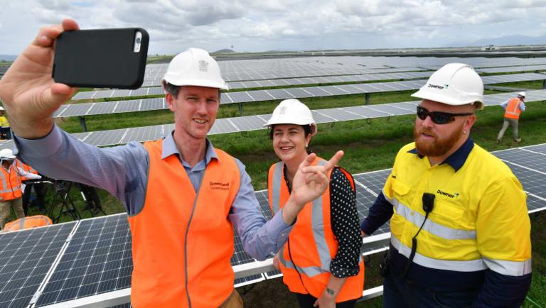 Labor Energy Minister Mark Bailey and Premier Annastacia Palaszczuk at Labor's solar energy election announcement.