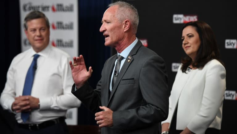 One Nation state leader Steve Dickson at the leaders' debate on Thursday night.