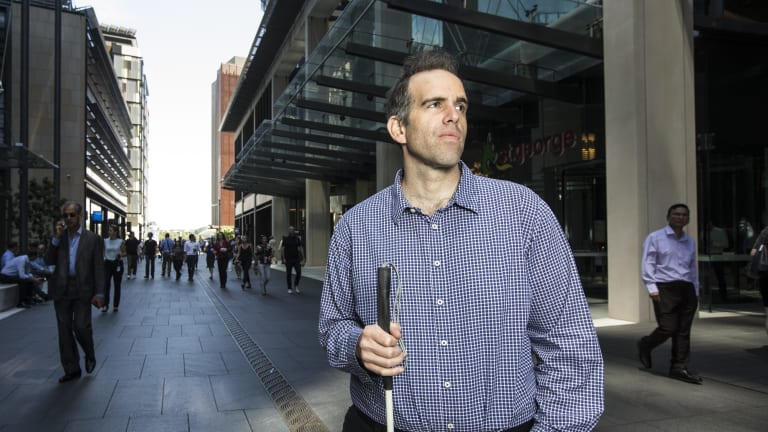 Rocco Cutri at Barangaroo where he works two days a week. He is pursuing Suncorp through the courts.