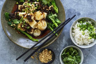 Spicy steamed scallops and tofu.