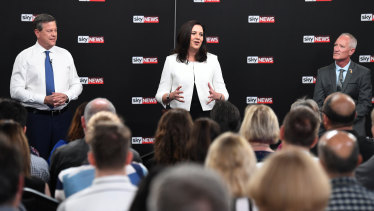 Queensland Premier Annastacia Palaszczuk, Leader of the Opposition Tim Nicholls and One Nation's Steve Dickson during a leaders debate in Brisbane on Thursday.