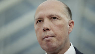Home Affairs Minister Peter Dutton addresses the media on  Thursday.