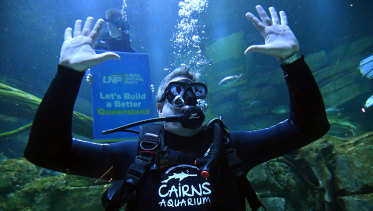 Queensland Opposition Leader Tim Nicholls scuba-dives in a large fish tank at the Cairns Aquarium.