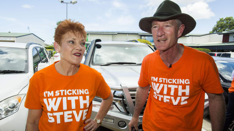 One Nation leader Pauline Hanson and Queensland One Nation leader and member for Buderim Steve Dickson, pictured at Sippy Downs, Buderim, on November 11.