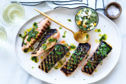 Grilled salmon fillets with salsa verde recipe.