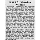 """First published in The Age on August 19, 1941: """"HMAS Waterhen Avenged""""."""