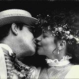 Renate Blauel, in a Keri Craig dress, at her wedding to Elton John in 1984.