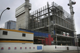 Builders are now up to level five of the 17-storey Arthur Phillip High School.