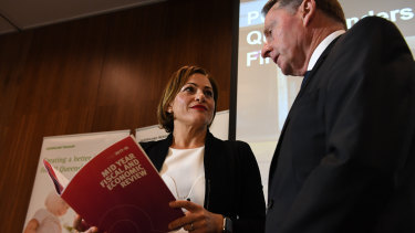 Treasurer Jackie Trad and Under Treasurer Jim Murphy at the MYFER release on Monday.