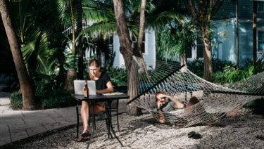Graphic designer Annemiek van Luinen, 24, and her boyfriend, screenwriter Michael Koehler, 30, at Roam Miami.