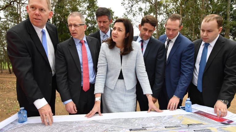 Premier Annastacia Palaszczuk with state and federal ministers as roadworks begin on the Pacific Motorway.