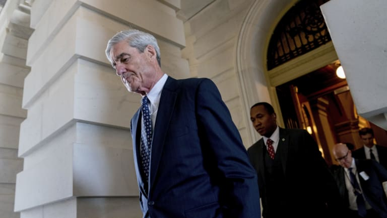 President Trump says says the investigation by Robert Mueller (pictured) is groundless, while raising doubts about whether a fired top FBI official kept personal memos outlining his interactions with Trump.