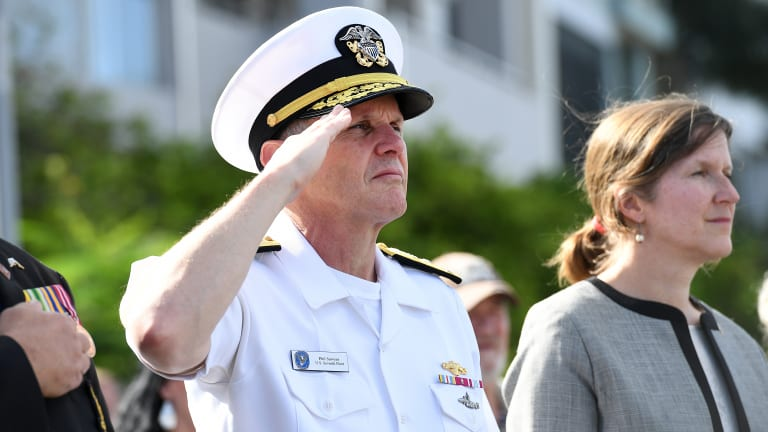 Vice-Admiral Phillip G. Sawyer (left) and United States Consul General Valerie Fowler attend a ceremony at the Submariner's Walk Heritage Trail in Brisbane on Wednesday.