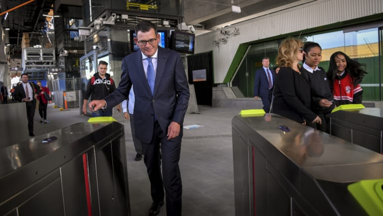 The Premier touches on at Noble Park station.
