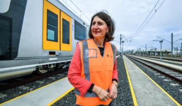 Gladys Berejiklian inspects the first new Waratah trains in Sydney on Thursday.