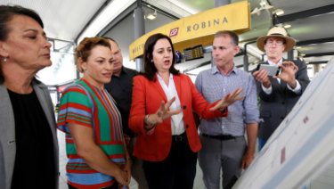 Premier Annastacia Palaszczuk discusses Labor's rail plans at Robina.