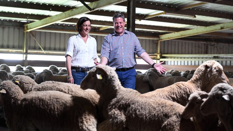Queensland OppositIon Leader Tim Nicholls (right) and deputy leader Deb Frecklington visit the Western Meats Exporters facility in Charleville.