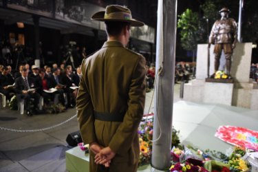 Crowds gathered at Martin Place in Sydney for the dawn service on Anzac Day.