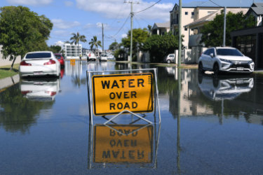 A residential street in Budds Beach on the Gold Coast flooded on Wednesday.