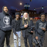 George Gittoes at work on the film in Chicago with (from left) artist Darius Marcus Ford, Li'l Dave and Boozie.