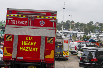 HAZMAT teams attended the raid at Blackwattle Bay Marine.