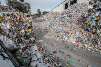 More rubbish piled up against the sheds at the Hume recycling centre.