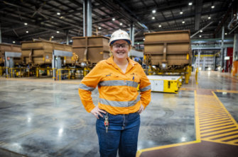 Production technician Lisa Sales at BHP's Mooka facility in the Pilbara.
