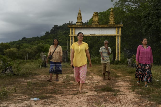 Sengheang Seh, right, and villagers in Botum Sakor National Park.