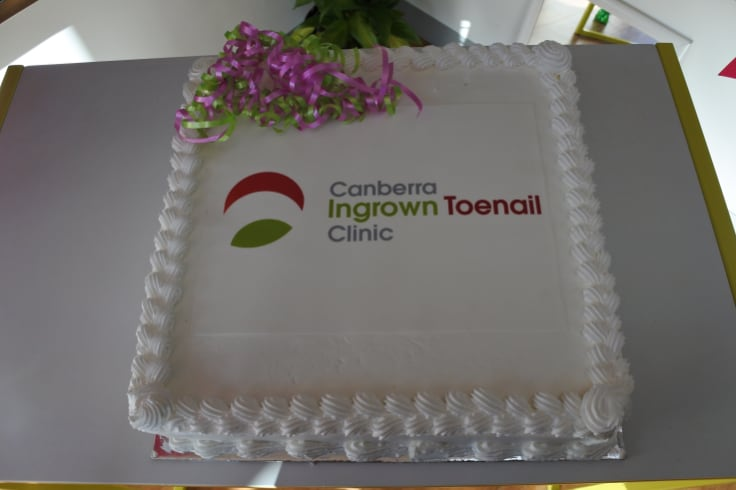 The celebratory cake from Erindale Cakery Bakery for the opening of the new clinic at Brindabella Podiatry.