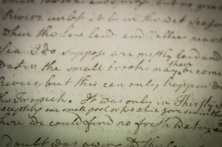 A close-up view of Cook's journal from the Endeavour.