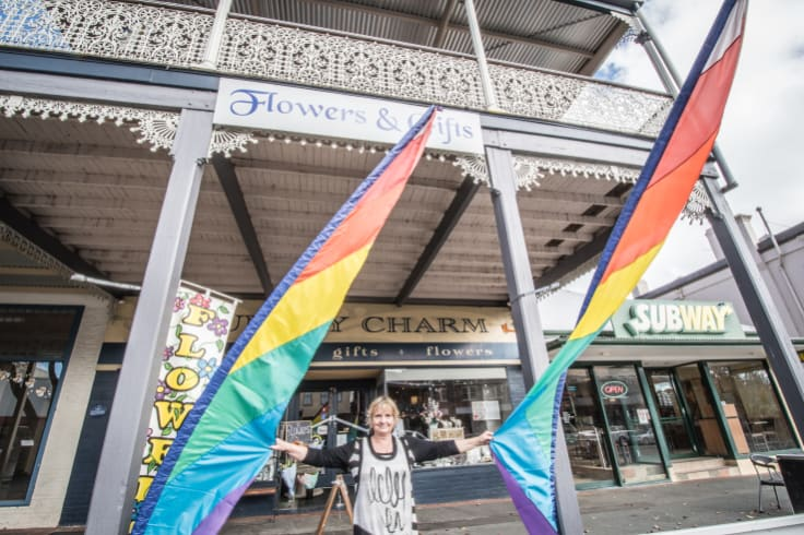 Florist and gift shop owner Cheryl Storgie said the arrival of the 'fab five' was all anyone in town could talk about.