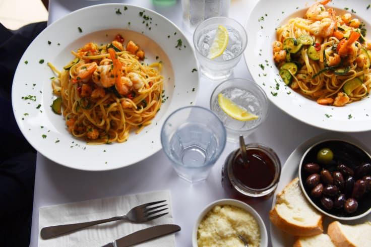 Lunch was linguini with prawns and zucchini.