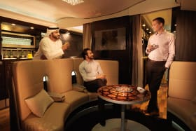 Flight test: This superjumbo has its own lobby bar and lounge on board