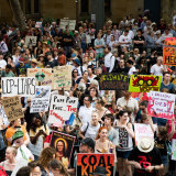 Climate change protesters rally during the Bushfire Summer of 2020.