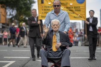 WWII Private Noel Pilcher is seen during the Anzac Day parade in Brisbane.