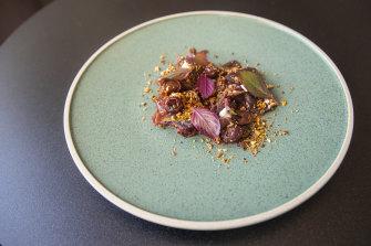 Paroo kangaroo bresaola, macadamia, roasted cherries, red amaranth.