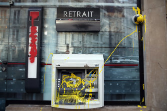 A damaged cash machine in Paris on Sunday.