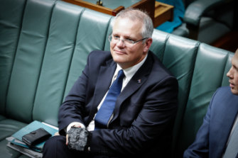 Then-treasurer Scott Morrison brought coal to Parliament in 2017 to show Coalition support for mining the fossil fuel.
