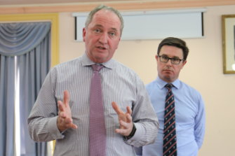 Questions to answer: Nationals MP Barnaby Joyce and Minister for Water David Littleproud at a community forum in Tamworth on Tuesday.