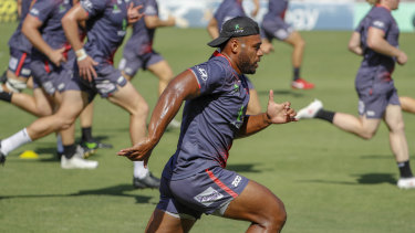 Samu Kerevi training with the Queensland Reds today.