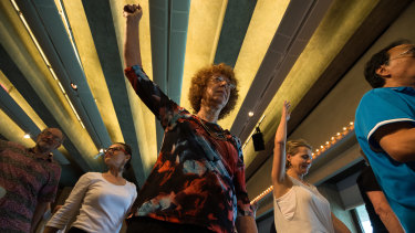 Participants in a dance class for people who have Parkinson's disease.