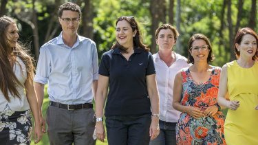 Premier Annastacia Palaszczuk (fourth from left) with likely Labor winners (L-R) Meaghan Scanlon (Gaven), Bart Mellish (Aspley), Melissa McMahon (Macalister), Charis Mullen (Jordan), Jess Pugh (Mount Ommaney) at a barbecue at Rocks Riverside Park, Seventeen Mile Rocks on Sunday.