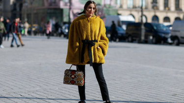 Olivia Culpo arriving at Lanvin at Paris Fashion Week.
