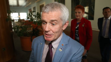 Malcolm Roberts shortly after the High Court's decision in Canberra.