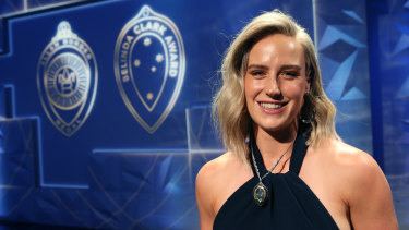 Ellyse Perry after claiming the title of Australia's top female cricketer at the Allan Border Medal awards last month.