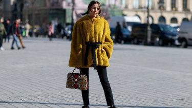 Olivia Culpo arriving at Lanvin at Paris Fashion Week.