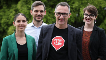 Candidate for Maiwar, Michael Berkman (second from left), with (left to right) Greens candidate for McConnel, Kirsten Lovejoy, Greens Leader, Senator Richard Di Natale, and candidate for South Brisbane, Amy MacMahon.
