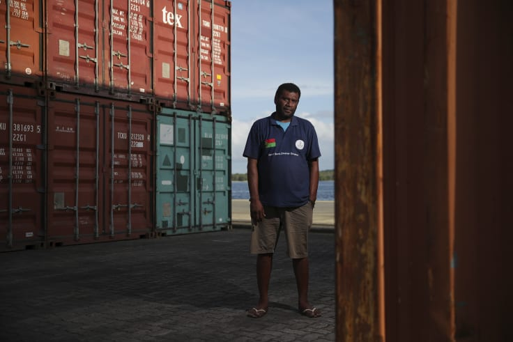 Harbour master Terry Ngwele at the wharf, which accepts cruise ships and container vessels.